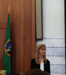 Carrie Williams, looking toward the jury